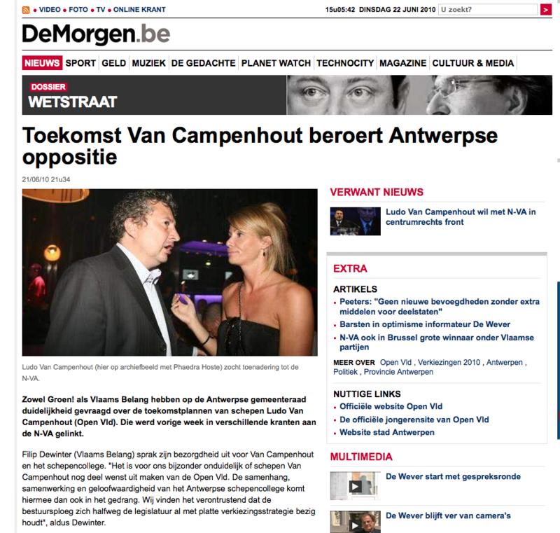De Morgen Wetstraat - Toekomst Van Campenhout beroert Antwerpse oppositie (1122226)_1277211954502